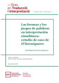 Las bromas y los juegos de palabras en interpretación simultánea: estudio  de caso de El hormiguero