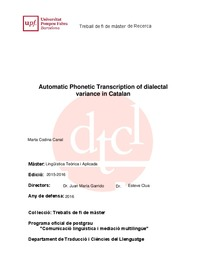 Automatic Phonetic Transcription of dialectal variance in