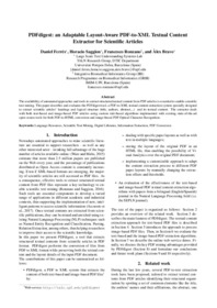 PDFdigest: an Adaptable Layout-Aware PDF-to-XML Textual Content