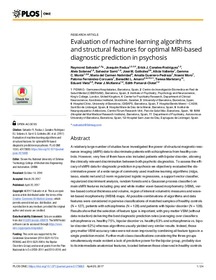 Evaluation of machine learning algorithms and structural